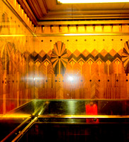 The walls in the elevators are decorated with elaborate inlaid hardwood of 12 different kinds.