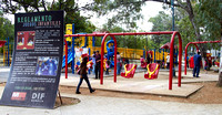 The park has a number of different areas. Here, the playground.